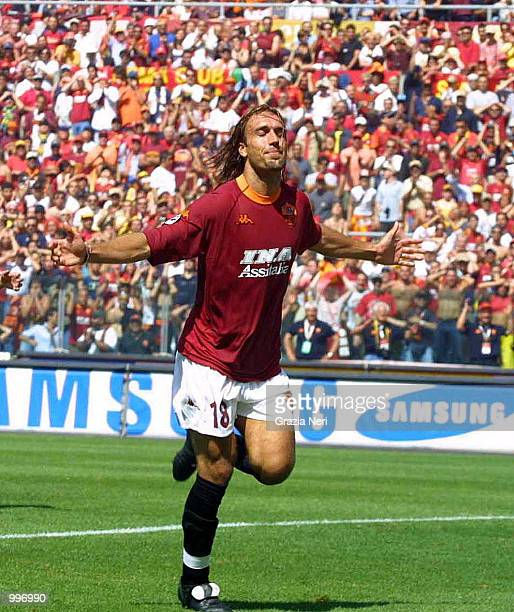 Gabriel Batistuta of Roma celebrates Montella's goal during the Serie A 34th Round League match played between Roma and Parma played at the Olympic...