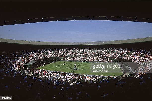 General view of Court One during the first round of the Wimbledon Lawn Tennis Championship held at the All England Lawn Tennis and Croquet Club in...