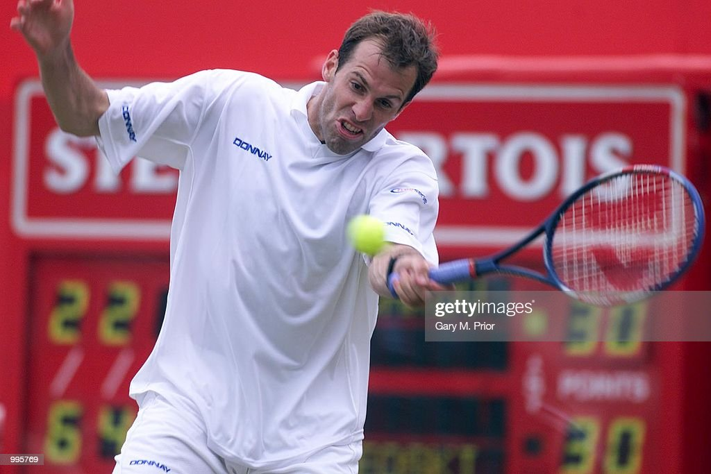 Greg Rusedski of Great Britain on his way to victory over Vladimir Volchkov of Belarus during the third round of the Stella Artois Championships at Queen's Club, London. +DIGITAL IMAGE+ Mandatory Credit: Gary M. Prior/ALLSPORT