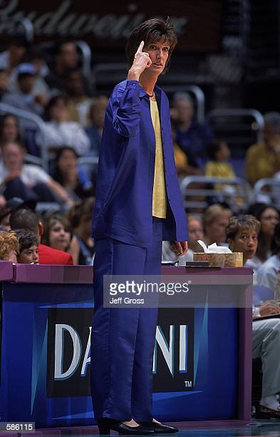 Head Coach Anne Donovan of the Charlotte Sting reacts to the action during the game against the Los Angeles Sparks at the STAPLES Center in Los...