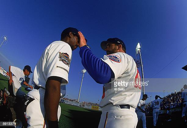 Hitting Coach Howard Johnson of the Brooklyn Cyclones talks to a teammember during the Minor League Class A Baseball game against the Mahoning Valley...