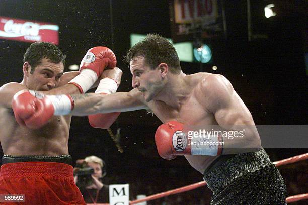 Javier Castillejo throws a right against the block of Oscar De La Hoya during WBC Super Welterweight Championship bout at the MGM Grand Hotel Casino...