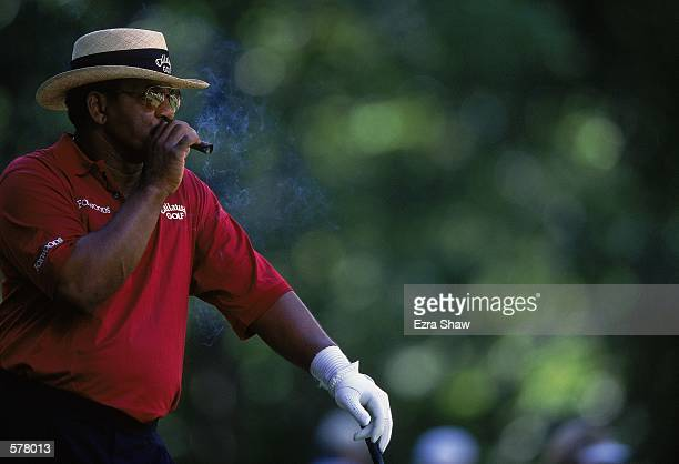 Jim Thorpe takes a break and puffs on a cigar during the US Senior Open at the Salem Country Club in Peabody MassachusettsMandatory Credit Ezra Shaw...