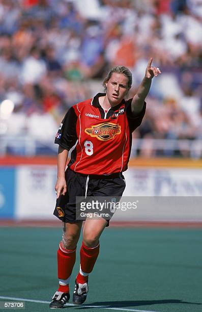 Kelly Smith of the Philadelphia Charge calls out a play during the WUSA game against the Carolina Courage at the Villanova Stadium in Villanova...