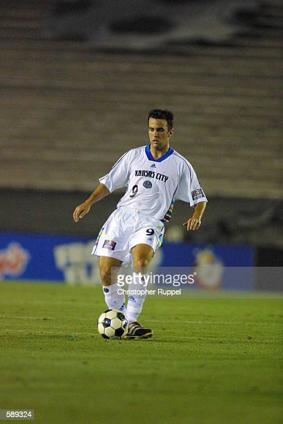 Kerry Zavagnin of the Kansas City Wizards dribbles down field during the match against the Los Angeles Galaxy at the Rose Bowl in Pasadena California...