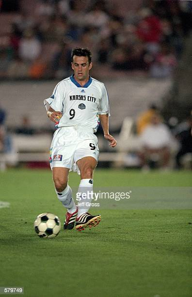Kerry Zavagnin of the Kansas City Wizards moves with the ball during the game against the Los Angeles Galaxy at the Rose Bowl in Pasadena California...