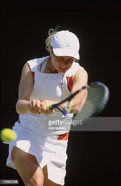 Kim Clijsters of Holland during the Lawn Tennis Championships at the All England Club in Wimbledon London Mandatory Credit Alex Livesey/ Allsport
