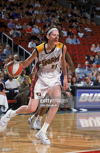 Lauren Jackson of the Seattle Storm moves with the ball during the game against the Orlando Miracle at Key Arena in Seattle Washington The Storm...