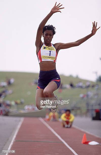 Leandra Polius of Great Britain in action in the Long Jump during the Norwich Union Under 23 International between Great Britain and Spain at the...