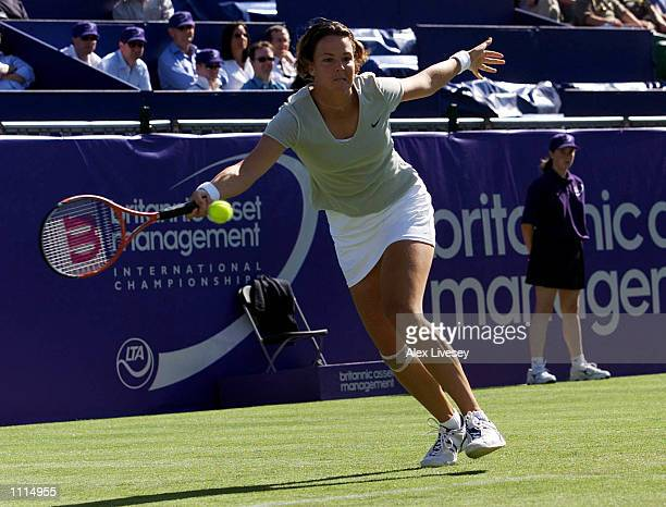 Lindsay Davenport of the USA in action against AnneGaelle Sidot of France during the second round of the Britannic Asset Management International...