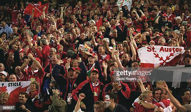 Lion Fans celebrate after the First Test Match between the British and Irish Lions and Australia played at the Gabba Stadium Brisbane Australia The...