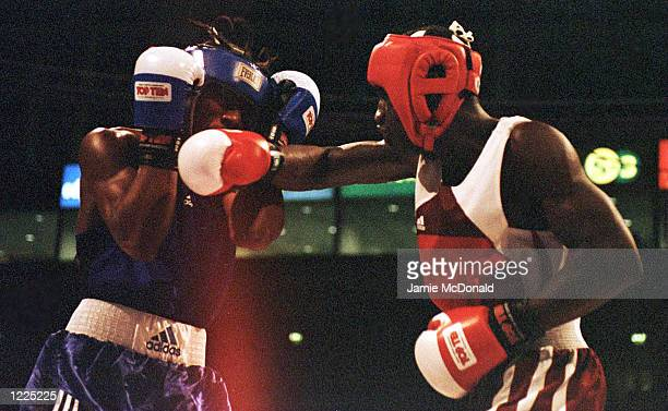 Loren Armientieros Aragon of Cuba lands a right to Anthony Thomson of USA in the 67kg final during the World Amateur Boxing championships at the...