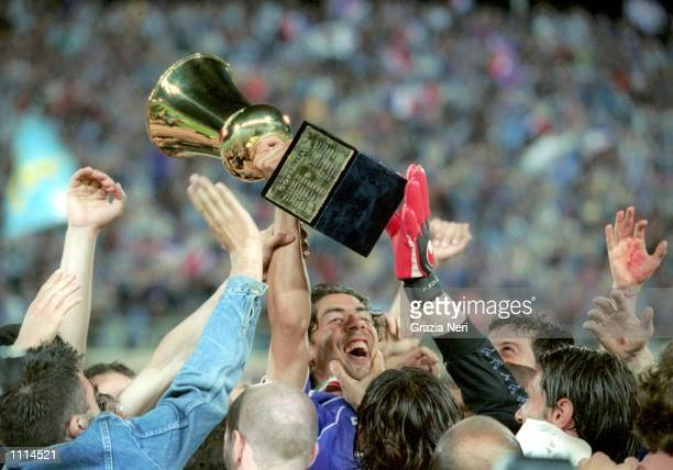 Manuel Rui Costa of Fiorentina celebrates victory after the Italian Cup final match played between Fiorentina and Parma played at the Artemio Franchi...