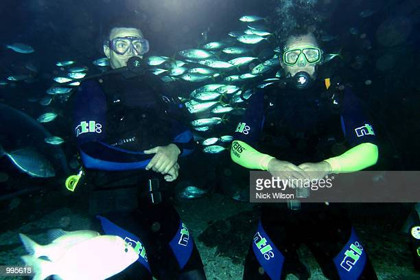 Martin Corry and Richard Hill of the British Lions go scuba diving at Under Water World on the Sunshine Coast ahead of their game against the...