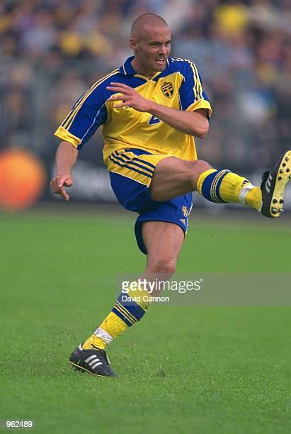 Olof Mellberg of Sweden in action during the FIFA 2002 World Cup Qualifier against Slovakia at the Rasunda Stadion in Stockholm Sweden Mandatory...