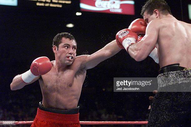 Oscar De La Hoya aims a direct jab at Javier Castillejos'' face during WBC Super Welterweight Championship bout at the MGM Grand Hotel Casino in Las...