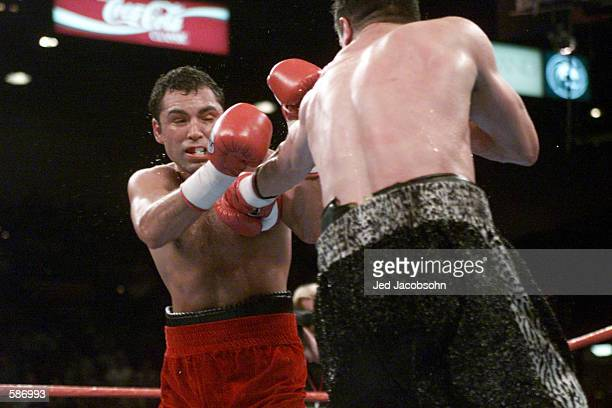Oscar De La Hoya tries to block an attack by Javier Castillejo during WBC Super Welterweight Championship bout at the MGM Grand Hotel Casino in Las...