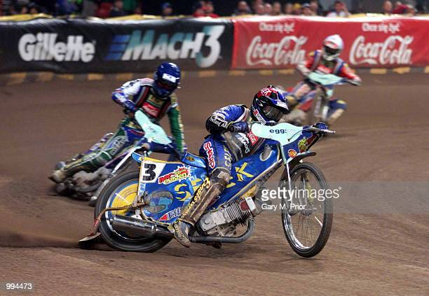 Overall winner Tony Rickardsson of Sweden in action during the final of the British Speedway Grand Prix in the Millennium Stadium Cardiff Digital...