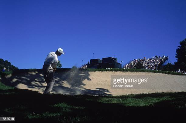 Retief Goosen hits his ball over a sand trap during the 101st US Open at the Southern Hills Country Club in Tulsa OklahomaMandatory Credit Donald...