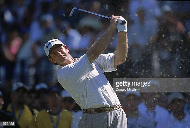 Retief Goosen pops his ball up during the 101st US Open at the Southern Hills Country Club in Tulsa, Oklahoma.Mandatory Credit: Donald Miralle...
