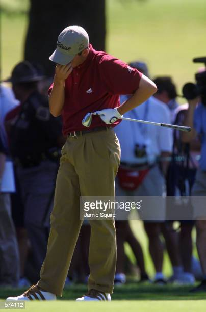 Sergio Garcia of Spain reacts at the third fairway during the third round of the 101st US Open at Southern Hills Country Club in Tulsa, Oklahoma....