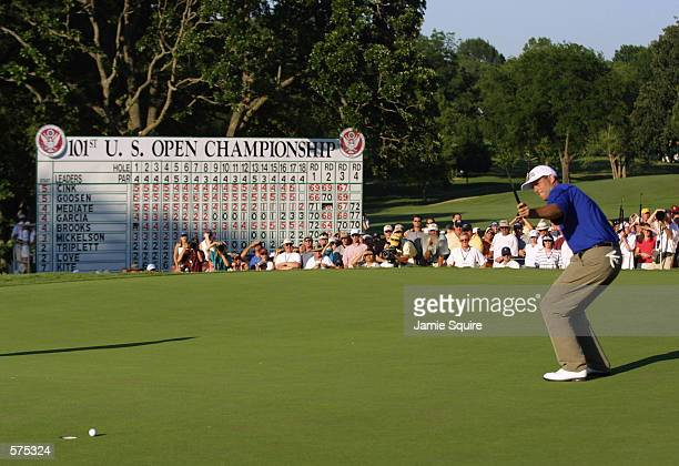Stewart Cink anticipates making his first putt on the 18th green but missed during the final round of the 101st US Open at Southern Hills Country...