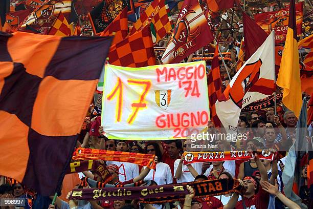 Supporters of Roma at the Serie A 34th Round League match played between Roma and Parma played at the Olympic Stadium Rome Italy DIGITAL CAMERA...