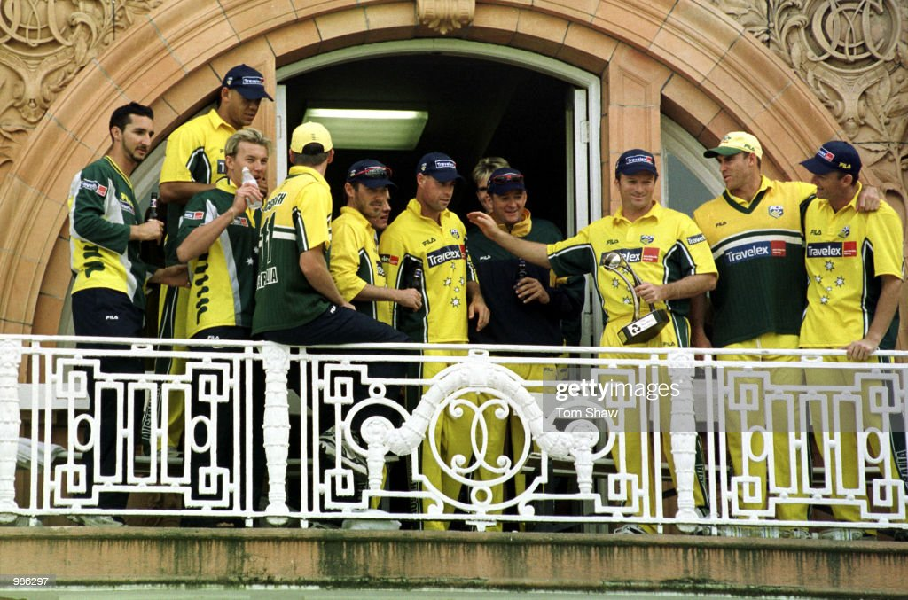 The Australian team celebrate on the balcony after winning the Natwest Triangular Series Final between Australia and Pakistan played at Lord's Cricket Ground, London. Mandatory Credit: Tom Shaw/ALLSPORT