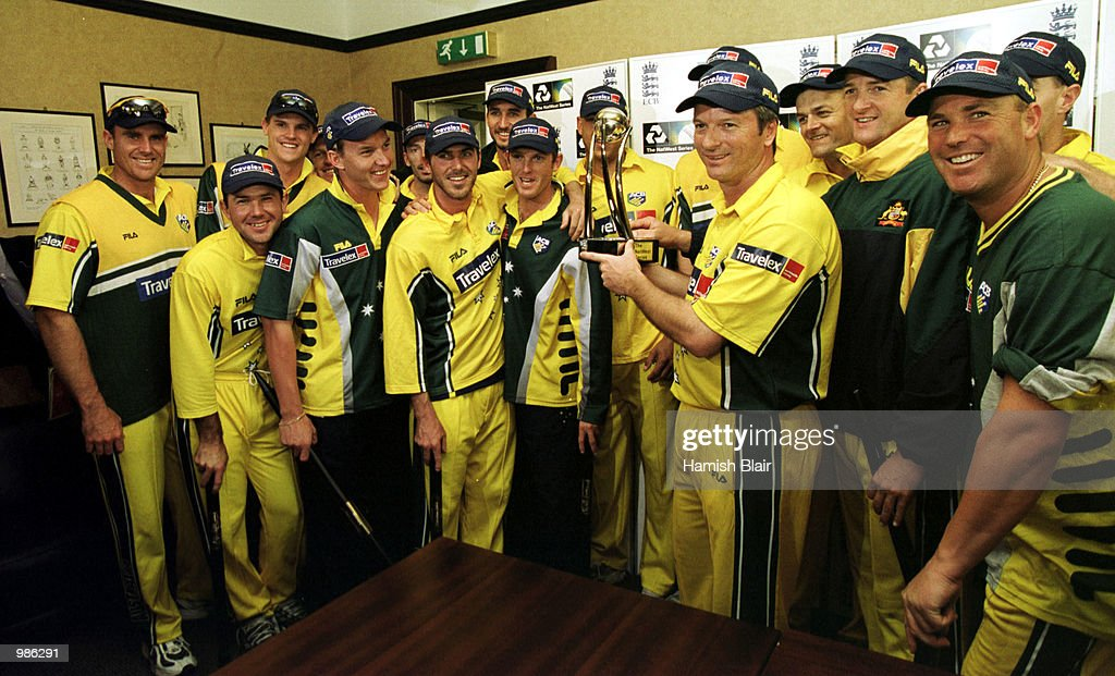 The Australian team with the trophy after winning the Natwest Triangular Series Final between Australia and Pakistan played at Lord's Cricket Ground, London. Mandatory Credit: Hamish Blair/ALLSPORT