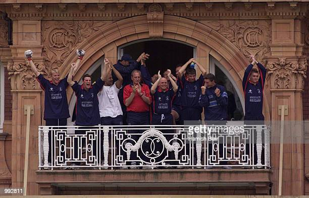 The Middlesex team celebrate their win by six wickets during the oneday tour match between Middlesex and Australia at Lords Cricket Ground London...