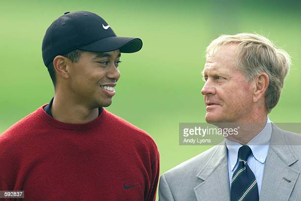 Tiger Woods and Jack Nicklaus share a chat during the award presentation at the Memorial Tournament at Muirfield Village Golf Club in Dublin, Ohio....