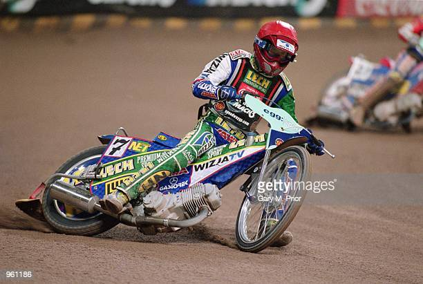 Tomasz Gollob of Poland in action during the Egg British Speedway Grand Prix 2001 held at the Millennium Stadium in Cardiff Wales Mandatory Credit...
