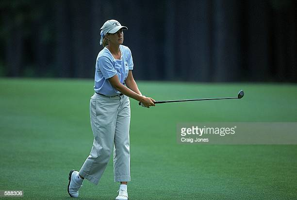 Vickie GoetzeAckerman watches the ball after teeing off during the Women's US Open at the Pine Needles Lodge and Golf Club in Southern Pines North...