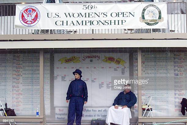 Volunteers wait for play to resume as heavy rains delayed the second round of play during the 2001 US Women's Open at Pine Needles Lodge GC in...
