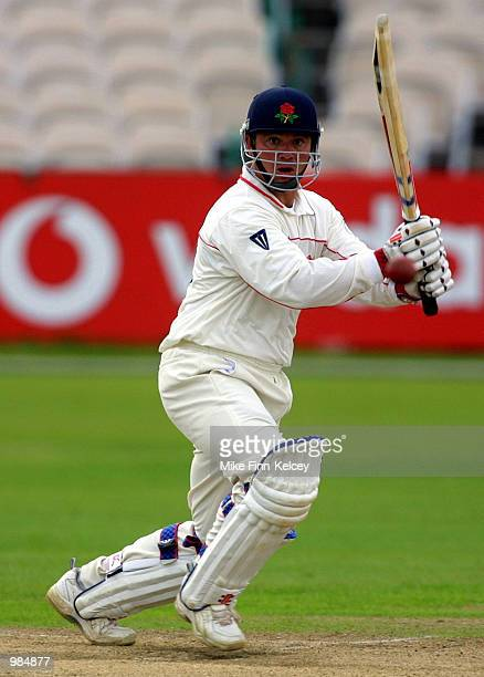 Warren Hegg of Lancashire hits out on his way to 35 not out during the first day of the CricInfo County Championship Division One match between...