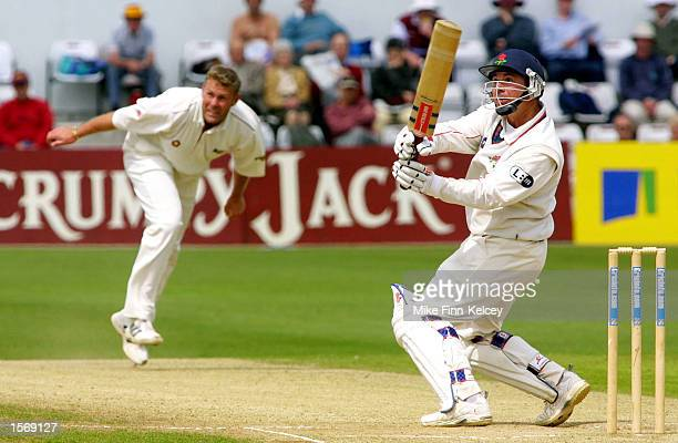 Warren Hegg of Lancashire watches as his shot off Darren Cousins of Northamptonshire goes for six on the final day of the CricInfo County...
