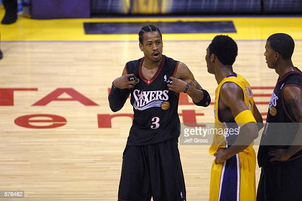 Allen Iverson of the Philadelphia 76ers and Kobe Bryant of the Los Angeles Lakers exchange words in game two of the NBA Finals at Staples Center in...