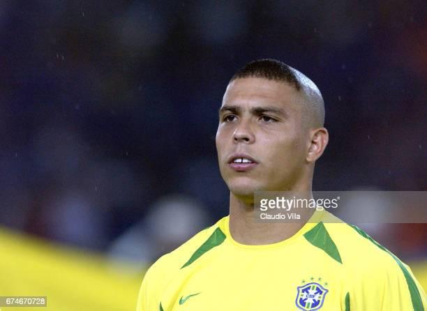 Ronaldo of Brazil looks on during the Germany v Brazil World Cup Final match played at the International Stadium Yokohama Yokohama Japan
