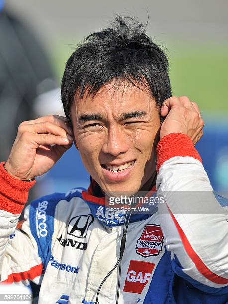 AJ Foyt Enterprises driver Takuma Sato on the track during Verizon IndyCar Series Qualifying for the MAVTV 500 at the Auto Club Speedway in Fontana CA