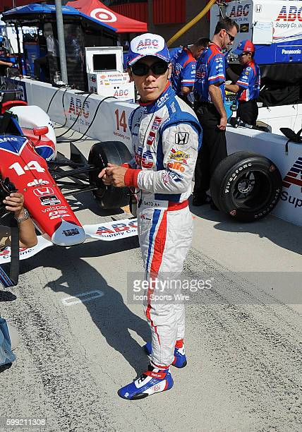 AJ Foyt Enterprises driver Takuma Sato on the track for Verizon IndyCar Series Practice for the MAVTV 500 at the Auto Club Speedway in Fontana CA