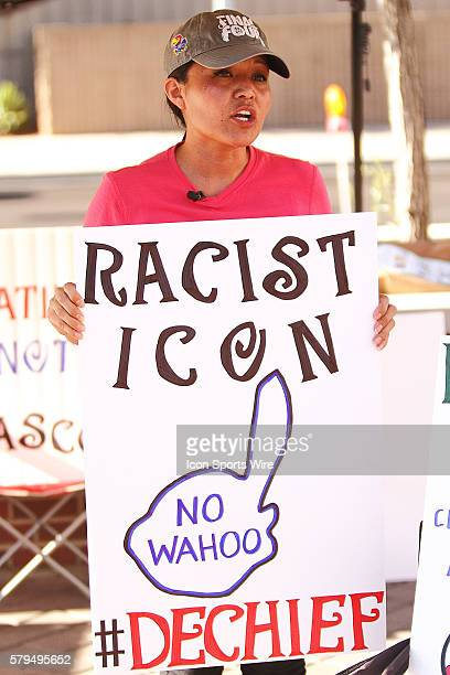 Amanda Bloackhorse a Native American protests the use of the Chief Wahoo mascot by the Cleveland Indians Major League Baseball team outside a regular...