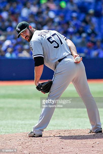 Chicago White Sox pitcher Zach Putnam checks on the runner at first base The Chicago White Sox defeated the Toronto Blue Jays 4 3 at the Rogers...