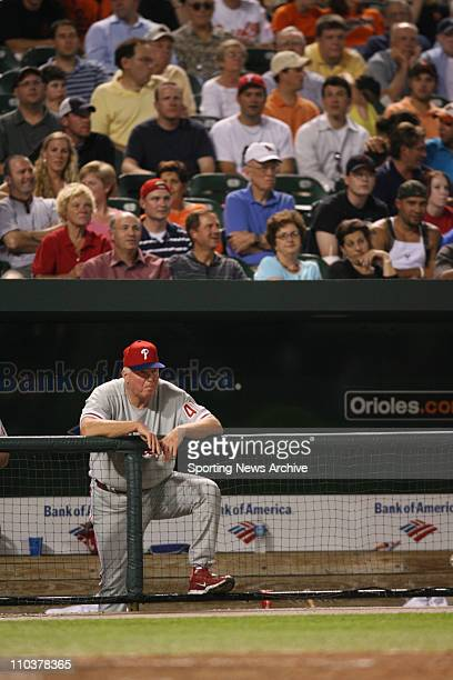Jun 29 2006 Baltimore MD USA Philadelphia Phillies manager Charlie Manuel against Baltimore Orioles at Orioles Park at Camden Yards in Baltimore Md...