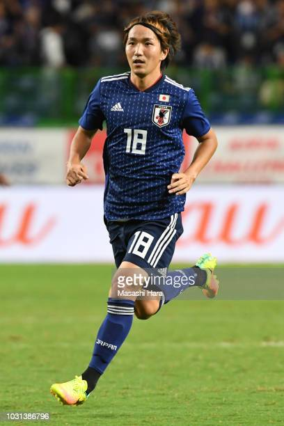 Jun Amano of Japan in action during the international friendly match between Japan and Costa Rica at Suita City Football Stadium on September 11,...
