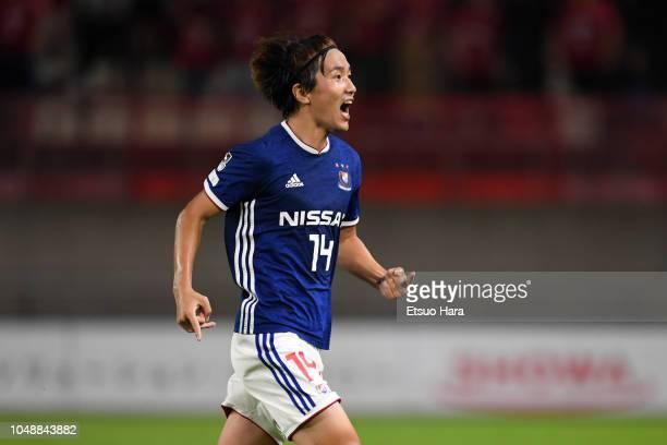 Jun Amano of Yokohama F.Marinos celebrates scoring his side's first goal during the J.League Levain Cup semi final first leg between Kashima Antlers...