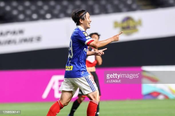 Jun Amano of Yokohama F.Marinos celebrates scoring his side's first goal during the J.League Meiji Yasuda J1 match between Consadole Sapporo and...