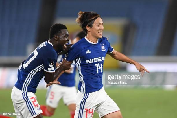 Jun Amano of Yokohama F.Marinos celebrates the second goal during the J.League J1 match between Yokohama F.Marinos and Kashiwa Reysol at Nissan...