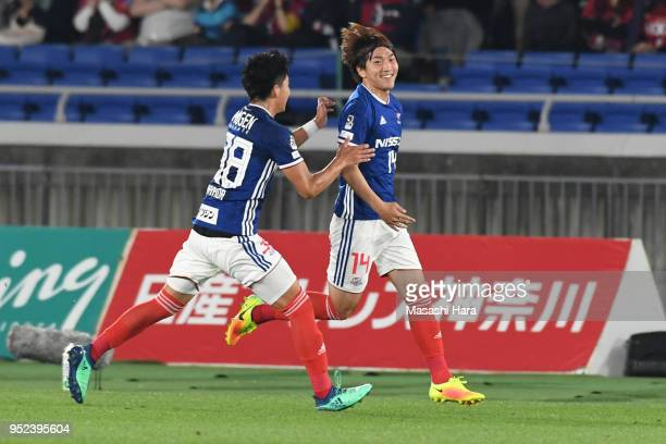 Jun Amano of Yokohama F.Marinos celebrates the second goal during the J.League J1 match between Yokohama F.Marinos and Kashima Antlers at Nissan...