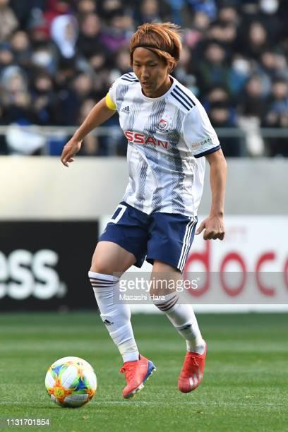 Jun Amano of Yokohama F.Marinos in action during the J.League J1 match between Gamba Osaka and Yokohama F.Marinos at Panasonic Stadium Suita on...