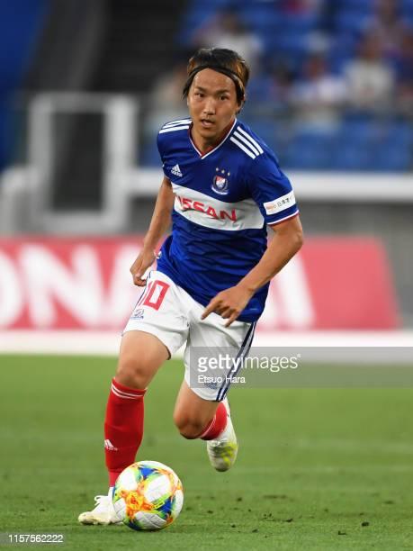 Jun Amano of YoKohama F.Marinos in action during the J.League J1 match between Yokohama F.Marinos and Matsumoto Yamaga at Nissan Stadium on June 22,...